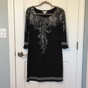 Black dress with white design